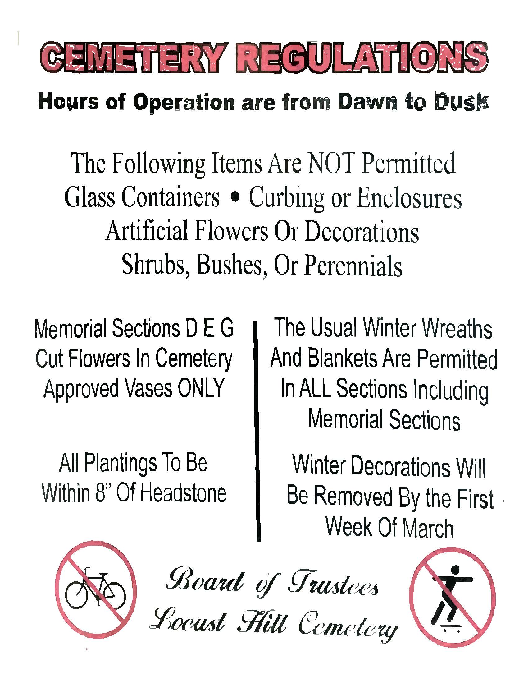 cemetery regulations